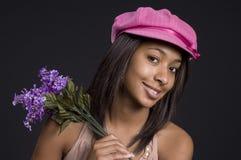Sombrero rosado adolescente Foto de archivo libre de regalías