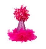 Sombrero rosado de la fiesta de cumpleaños de la pluma Imágenes de archivo libres de regalías