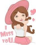 Sombrero rosado de la muchacha en el fondo blanco.  Imagen de archivo libre de regalías