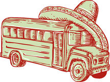 Sombrero School Bus Etching Royalty Free Stock Photos