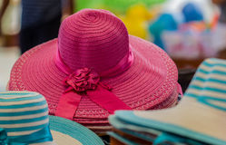 Sombrero select focus on the red hat. Background Stock Photos