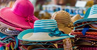 Sombrero select focus on the white hat. Background Stock Photos