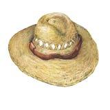 Sombrero solar de la paja Fotografía de archivo libre de regalías