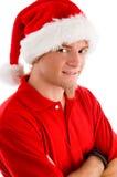 Sombrero sonriente de la Navidad del hombre que desgasta Imagenes de archivo