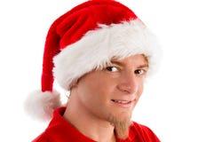 Sombrero sonriente de la Navidad del varón que desgasta Imágenes de archivo libres de regalías