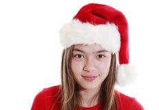 Sombrero sonriente de Navidad del ith de la mujer joven Fotografía de archivo