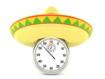 Sombrero with stopwatch. Isolated on white background vector illustration