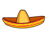 Sombrero straw hat  illustration. On white background Royalty Free Stock Images
