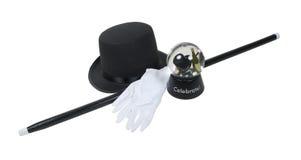 Sombrero superior y bastón del globo de la nieve del Año Nuevo Fotos de archivo libres de regalías