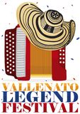Sombrero tradicional de Vueltiao sobre el acordeón para el festival de la leyenda de Vallenato, ejemplo del vector libre illustration