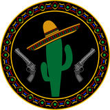 Sombrero, two pistols and cactus Royalty Free Stock Images