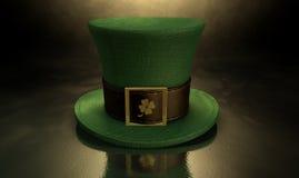 Sombrero verde del trébol del Leprechaun Imagen de archivo libre de regalías