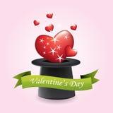 Sombrero y corazones mágicos - día de tarjeta del día de San Valentín stock de ilustración