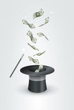 Sombrero y dinero mágicos Imágenes de archivo libres de regalías