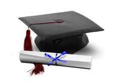 Sombrero y diploma de la graduación Fotografía de archivo