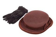 Sombrero y guantes de las mujeres Imagen de archivo libre de regalías