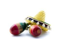 Sombrero y maracas Imagen de archivo libre de regalías