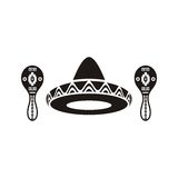 Sombrero y maracas mexicanos Fotografía de archivo