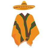 Sombrero y poncho mexicano Fotografía de archivo libre de regalías