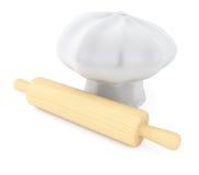 Sombrero y rodillo del cocinero Foto de archivo