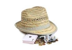 Sombrero y tarjeta dos fotografía de archivo libre de regalías