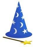 Sombrero y varita del mago Fotos de archivo