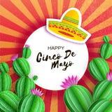 Sombrerohatt, kaktus i papperssnittstil Rosa blommor Lyckligt Cinco De Mayo hälsningkort Mexico karneval Circe ram royaltyfri illustrationer