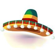 Sombrerohattillustration Mexicansk hatt på vit bakgrund Maskerad- eller karnevaldräkthuvudbonad vektor illustrationer
