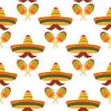 Sombreros, усики, maracas E Оформление для Cinco de Mayo Смогите быть использовано как обои, упаковочная бумага, упаковка, иллюстрация штока