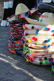 Sombreros. Stacks of sombreros for sale on Olvera Street royalty free stock images