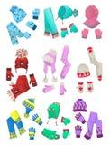 Sombreros, bufandas y manoplas para las niñas Imágenes de archivo libres de regalías