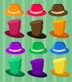 Sombreros coloridos divertidos para los trajes stock de ilustración