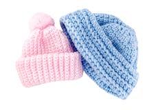 Sombreros Crocheted del bebé para el muchacho y la muchacha Fotos de archivo