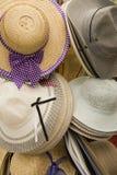 Sombreros de paja de las señoras Imagen de archivo libre de regalías