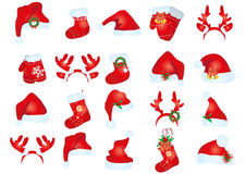 Sombreros de Papá Noel foto de archivo libre de regalías