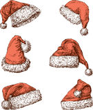 Sombreros de Santa Claus Fotos de archivo libres de regalías