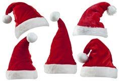 Sombreros de Santa de la Navidad Imagen de archivo