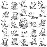 Sombreros del cocinero fijados Foto de archivo libre de regalías