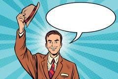 Sombreros del saludo del hombre agradable stock de ilustración
