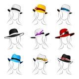 Sombreros femeninos stock de ilustración