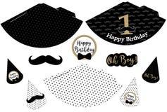 Sombreros imprimibles del pequeño hombre Modelo negro, blanco, de oro del bigote Impresión y corte Fotografía de archivo libre de regalías