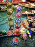 Sombreros, mercado flotante, Tailandia Fotografía de archivo libre de regalías
