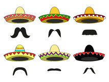Sombreros and mustaches. Set of six different  Mexican sombrero hats and Latin-American mustaches Stock Images