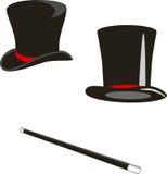 Sombreros y bastón mágicos Fotografía de archivo