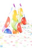 Sombreros y confetis del partido Imagenes de archivo