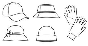 Sombreros y guantes Fotografía de archivo libre de regalías