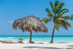 Sombrilla en la isla de Saona imagen de archivo