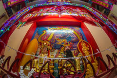 Sombun God Shrine. Chinese Shrine at Donmuang near Donmuang Airport.Newyear Festival Nightmarket Show Chinese Opera On stage in stock photo