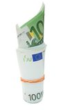 Some 100 euros banknotes. Over white isolated background Royalty Free Stock Photos