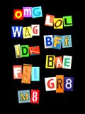 Some abreviation from social media. Some of the most popular abbreviation for social media with colorful newspaper letters Royalty Free Stock Image